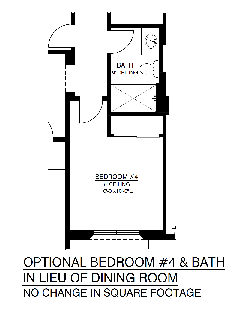 Optional 4th Bedroom In Lieu of Dining Room