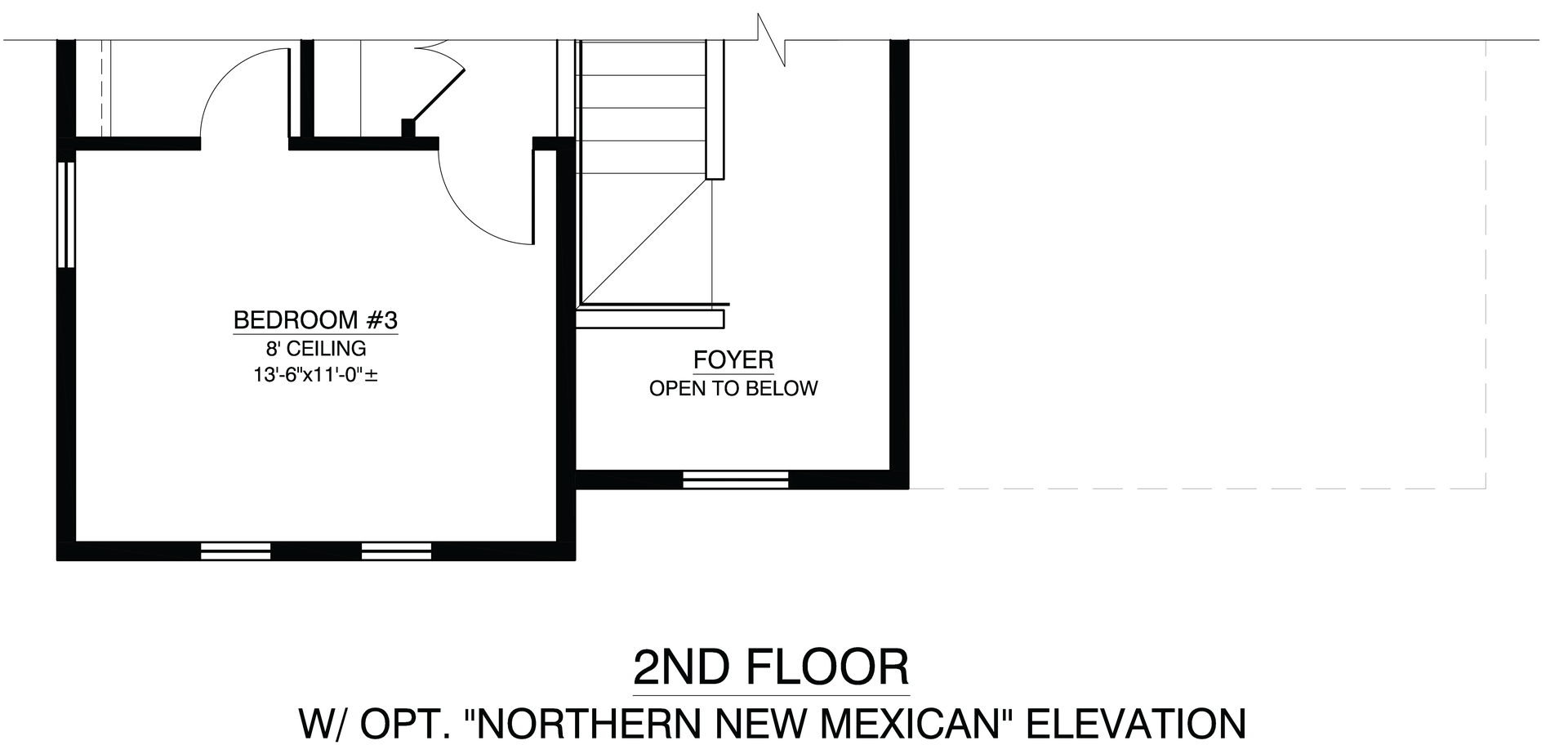 Second Floor with Optional Northern New Mexican Elevation