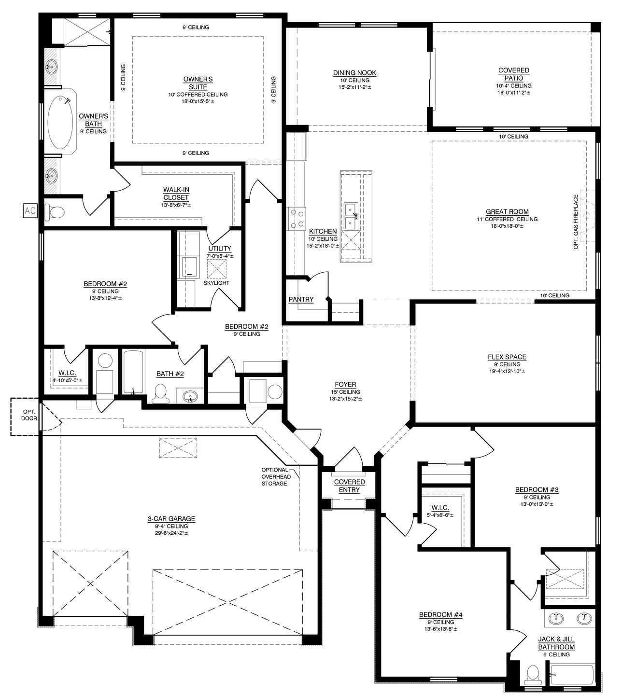The Tiffany Floor Plan with Jack and Jill Bath - 3080 (Durango)